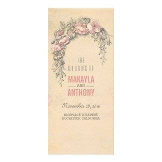 Pink Flowers Vintage Wedding Programs