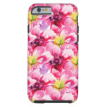 Pink Flowers Watercolor Pattern Tough iPhone 6 Case
