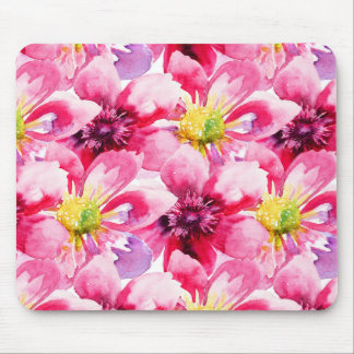 Pink Flowers Watercolor Pattern Mouse Pad