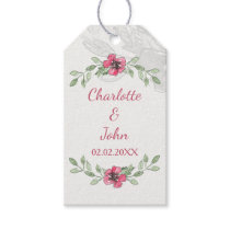 pink Flowers Watercolor Wedding Gift Tag