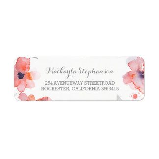 Pink Flowers Watercolor Wedding Label