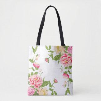Pink Flowers Watercolors Illustration Tote Bag
