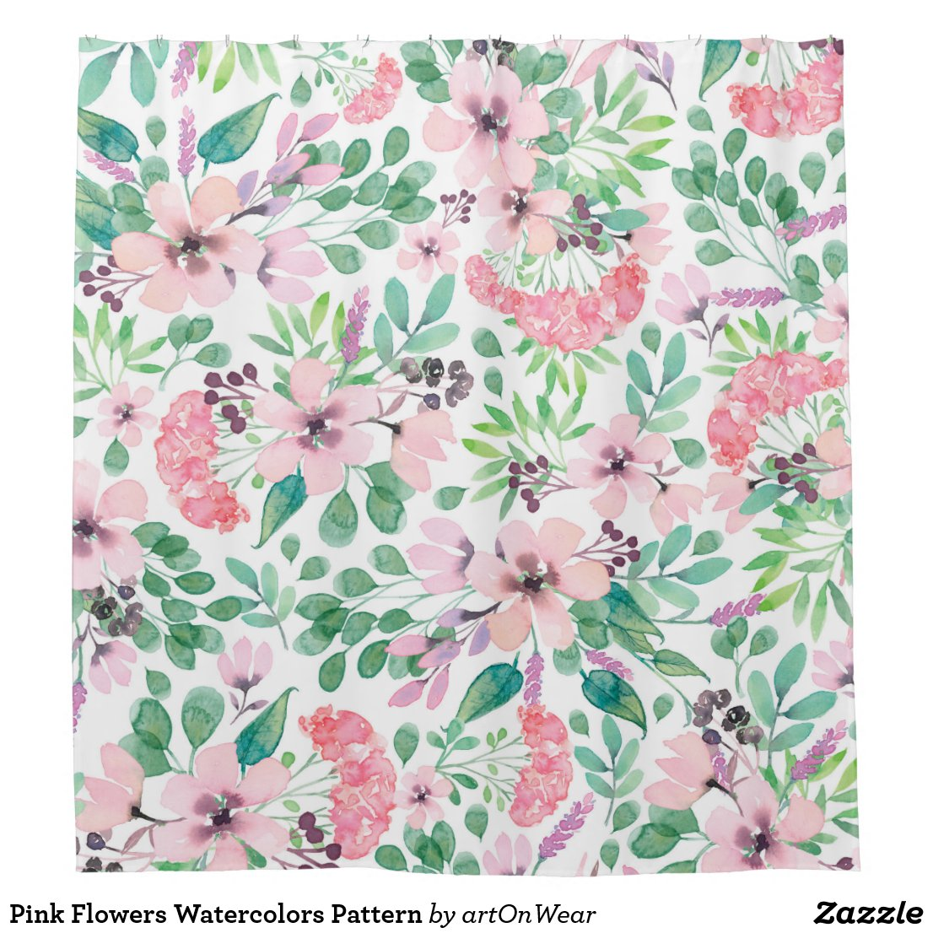 Pink Flowers Watercolors Pattern