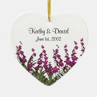 Pink Flowers Wedding Ceramic Ornament