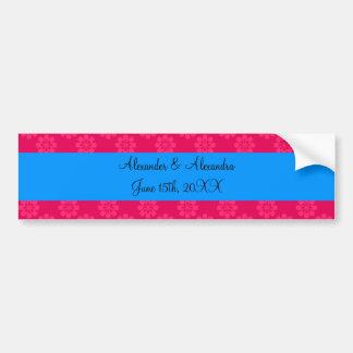 Pink flowers wedding favors bumper sticker