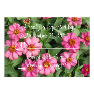 Pink Flowers Wedding RSVP Card Personalized Announcements