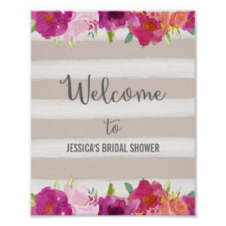 Pink Flowers Welcome Poster Print