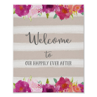 Pink Flowers Welcome Wedding Poster Print