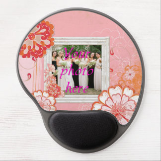 Pink Flowers White Frame Photo Gel Mousepads Gel Mouse Pads