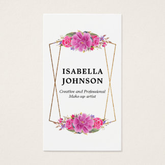 Pink Flowers White & Gold Geometric Business Card