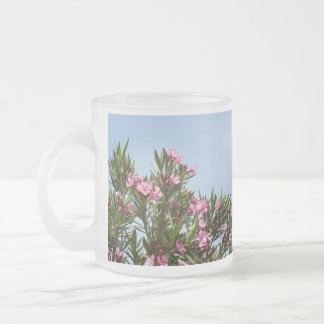 Pink flowers with a blue sky frosted glass coffee mug