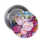 Pink Flowers with Bird in Watercolor Pin