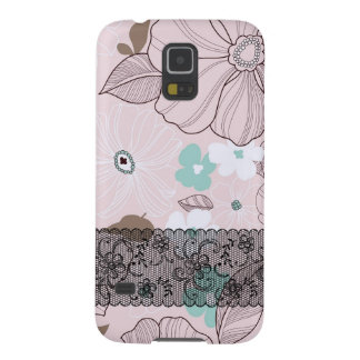 Pink flowers with black lassos galaxy s5 case