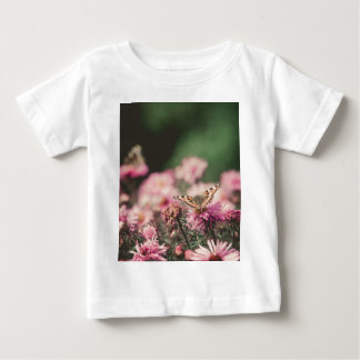 Pink Flowers with Butterfly Filtered 3 Baby T-Shirt