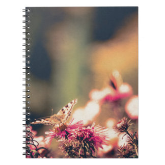 Pink Flowers with Butterfly Filtered Spiral Notebook