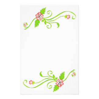 Pink Flowers with Green Vine Stationery