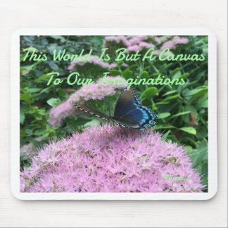 Pink Flowers With Monarch Butterfly Mouse Pad
