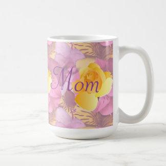 Pink Flowers Yellow Rose Large Mom Mug