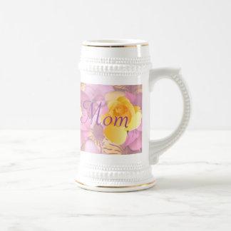 Pink Flowers Yellow Rose Mom Beer Stein