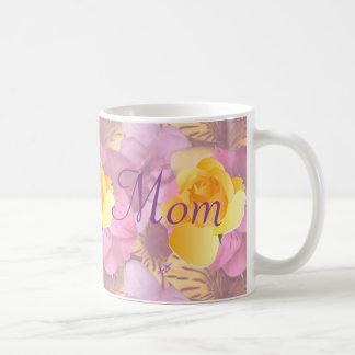 Pink Flowers Yellow Rose Mom Mug