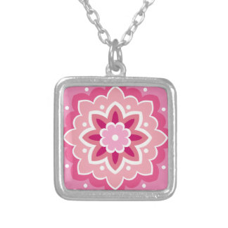 Pink & Flowery... Silver Plated Necklace