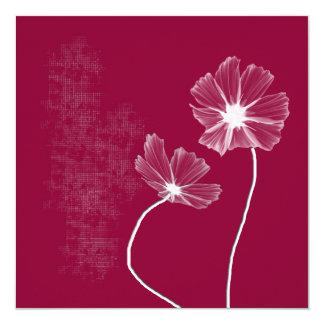 "Pink Flowerz Invitation 5.25"" Square Invitation Card"