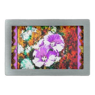 Pink Flowwers Rustic Design Gifts by Sharles Rectangular Belt Buckle