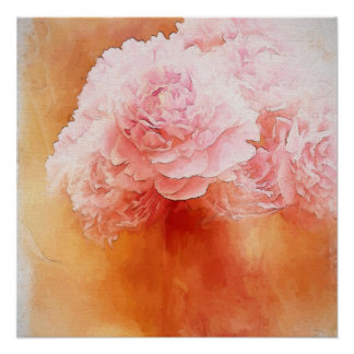 Pink Fluffy Peony Bouquet Painting Poster