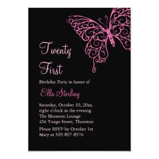 Pink Fluttering Butterflies Twenty First Birthday Card