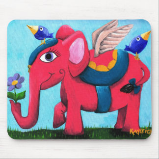 Pink Flying Elephant Mouse Pad