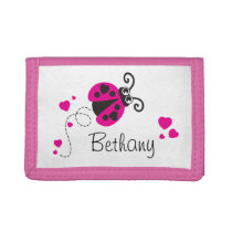 Pink flying ladybug / ladybird add your name purse tri-fold wallet