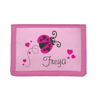 Pink flying ladybug / ladybird add your name purse trifold wallet