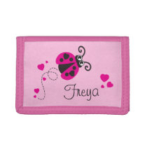 Pink flying ladybug / ladybird add your name purse trifold wallets