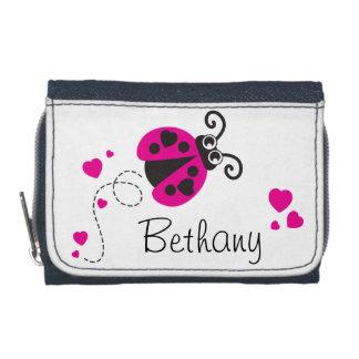 Pink flying ladybug / ladybird add your name purse wallets