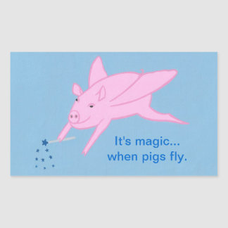 Pink Flying Pig and Blue Stars Wand, Stickers