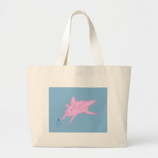 Pink Flying Pig Making Blue Stars Canvas Bags
