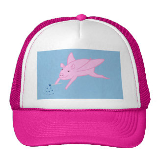 Pink Flying Pig Making Blue Stars Hats