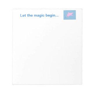 Pink Flying Pig Making Blue Stars Notepads