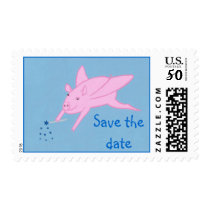 Pink Flying Pig Save the date Postage Stamps