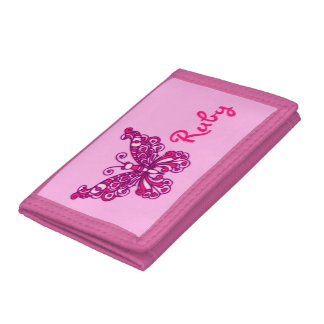 Pink flying stylized butterfly name purse trifold wallets
