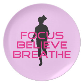 Pink Focus Believe Breathe Party Plates