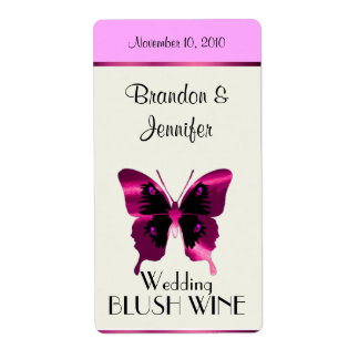Pink Foil Butterfly Wedding Mini Wine Labels
