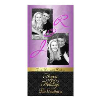 Pink Foil Lace Holiday Gold Ribbon Photo Card