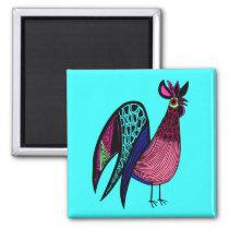 Pink Folk Art Rooster Magnet
