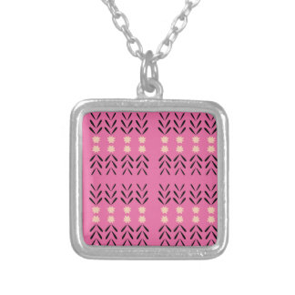 Pink folk Ornaments, tshirts Shop Silver Plated Necklace