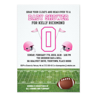 "Pink Football Baby Shower 5"" X 7"" Invitation Card"
