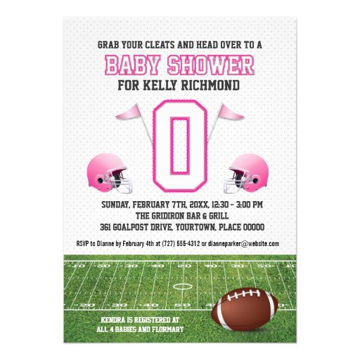 pink football baby shower 5x7 paper invitation card zazzle