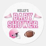 Pink Football Baby Shower Round Stickers
