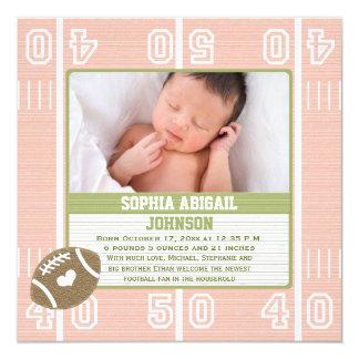 "Pink Football Birth Announcements 5.25"" Square Invitation Card"