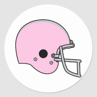 Pink Football Helmet Classic Round Sticker